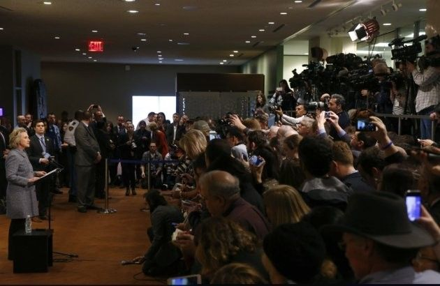 Former U.S. Secretary of State Hillary Clinton speaks during a press conference at the United Nations in New York March 10, 2015.   REUTERS/Lucas Jackson (UNITED STATES - Tags: POLITICS)
