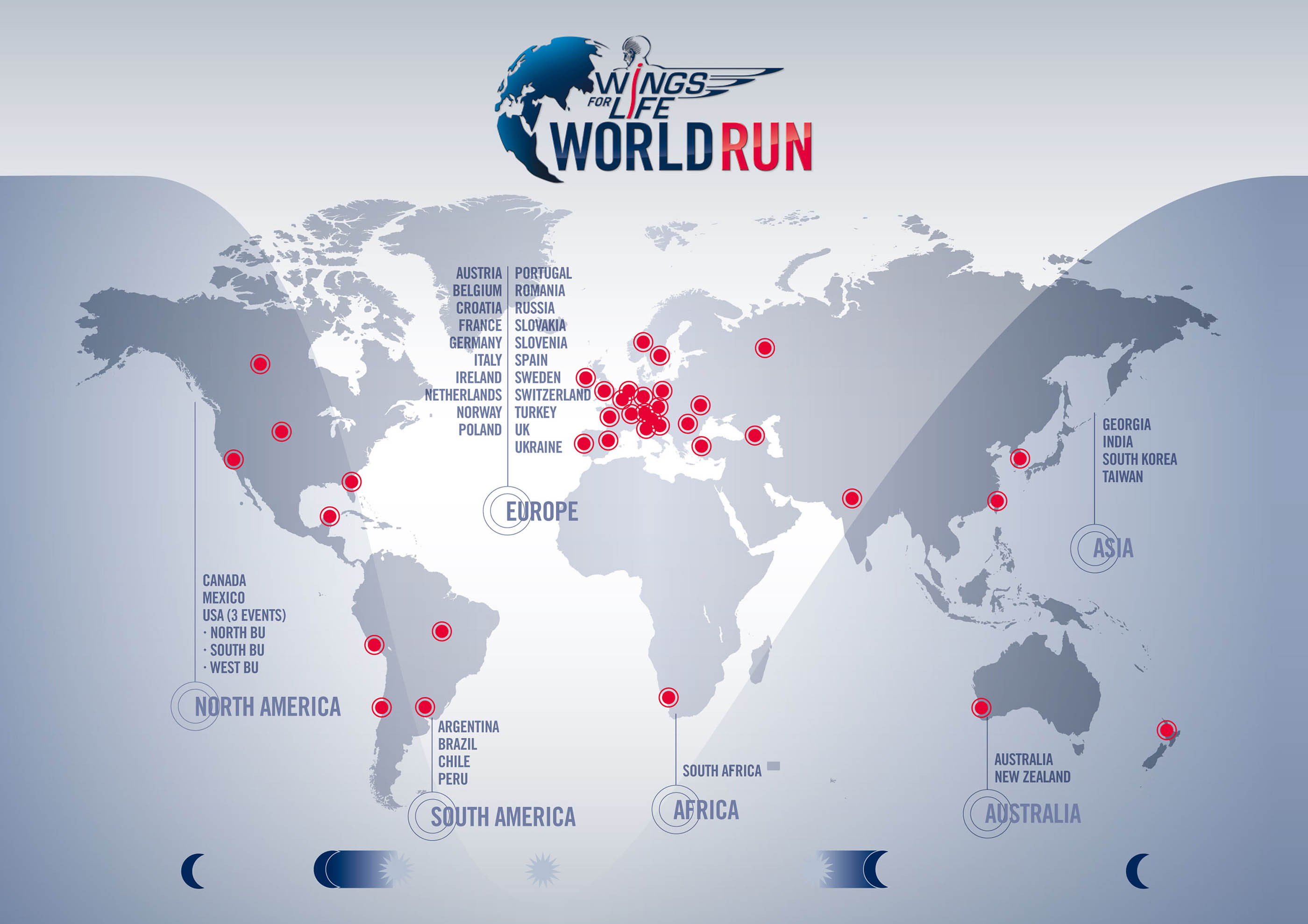 The map shows the 37 running destiantions of the Wings for Life World Run around the globe.