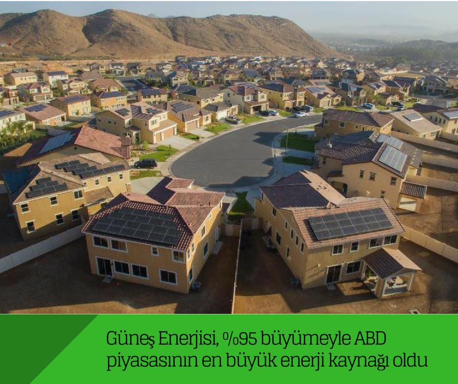 Güneş ABD piyasasının en büyük enerji kaynağı oldu