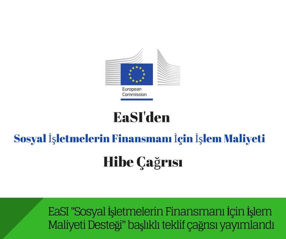 """EaSI """"Sosyal İşletmelerin Finansmanı İçin İşlem Maliyeti Desteği"""" başlıklı teklif çağrısı yayımlandı"""