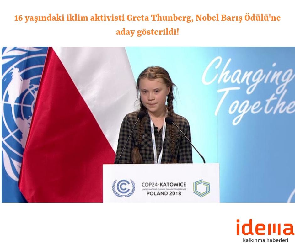 16 yaşındaki iklim aktivisti Greta Thunberg, Nobel Barış Ödülü'ne aday gösterildi!